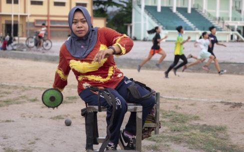 Photo credit Angus Stewart Image Rusmiyati discus thrower member of National Paralympic Committee Chapter Banjarmasin Indonesia